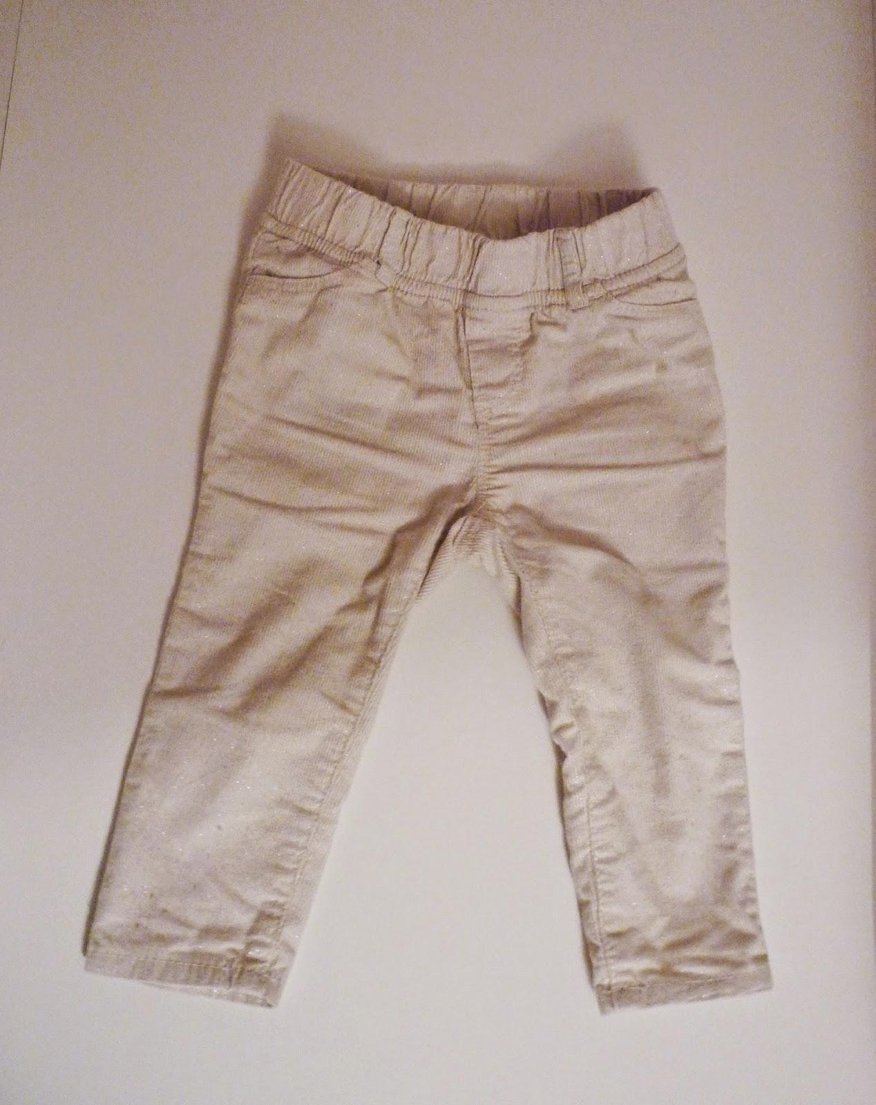 Pantalon en velours écru et pailleté de chez Baby GAP
