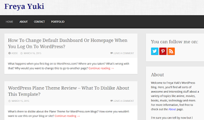 Freya Yuki on WordPress, blogging platform, theme reviews, blog