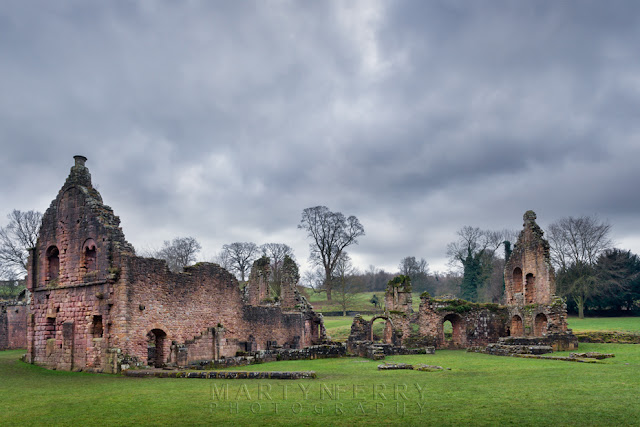 Remains of a building at Fountains Abbey in North England