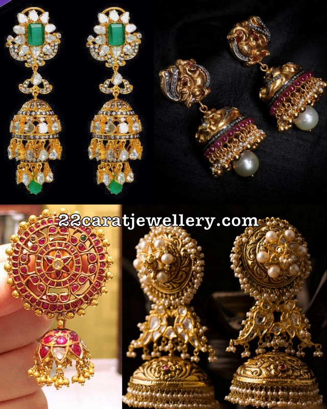 Jhumkas in Antique and Diamonds