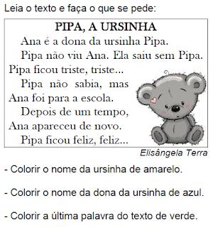 Texto PIPA, A URSINHA, de Elisângela Terra