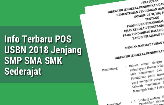 selamat datang kembali bersama CandraEdukasi Info Terbaru POS USBN 2018 Jenjang SMP SMA SMK Sederajat