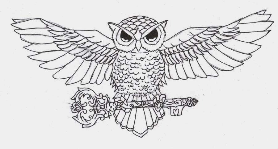 Owl with key tattoo stencil
