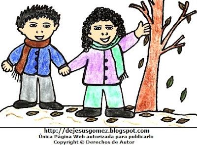 Dibujo de otoño a colores o niños en otoño. Dibujo de otoño hecho po Jesus Gómez