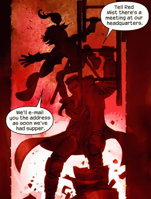 Big Daddy tells Kick-Ass to bring Red Mist to the secret meeting place