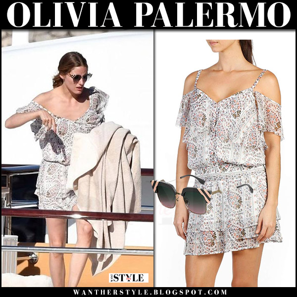 Olivia Palermo in beige paisley print mini dress paige denim olympia on a yacht Italy august 2017 summer style