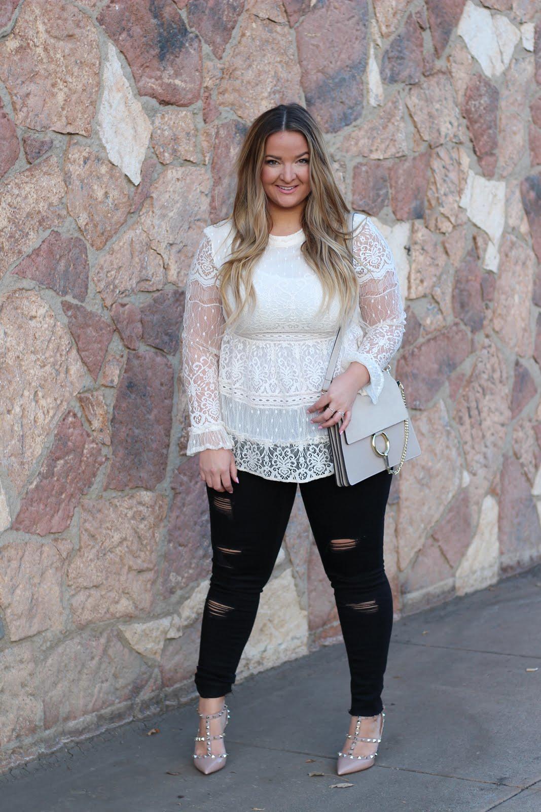 white lace top by popular Denver fashion blogger Delayna Denaye