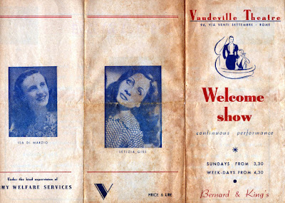 Vaudeville Theatre Rome programme from World War 2