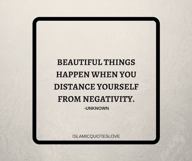 Beautiful things happen when you distance yourself from negativity. -Unknown
