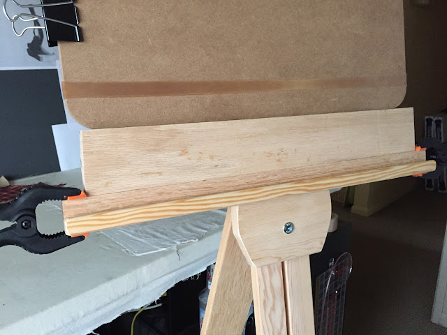 DIY spacer to raise height of drawing board and canvas on Umatilla floor easel