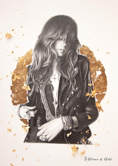 Retratos hiperrealistas a lápiz y pan de oro