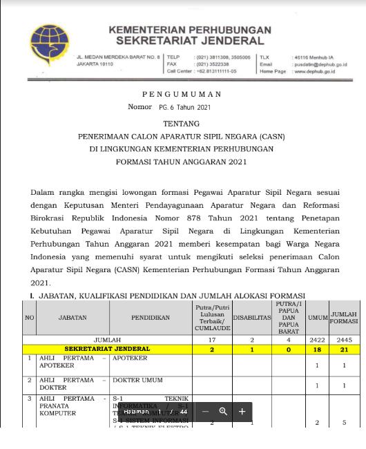Lowongan CPNS Kementerian Perhubungan Tahun Anggaran 2021
