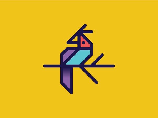 Inspirasi Desain Logo Monoline 2017 - Exotic Bird Monoline Logo