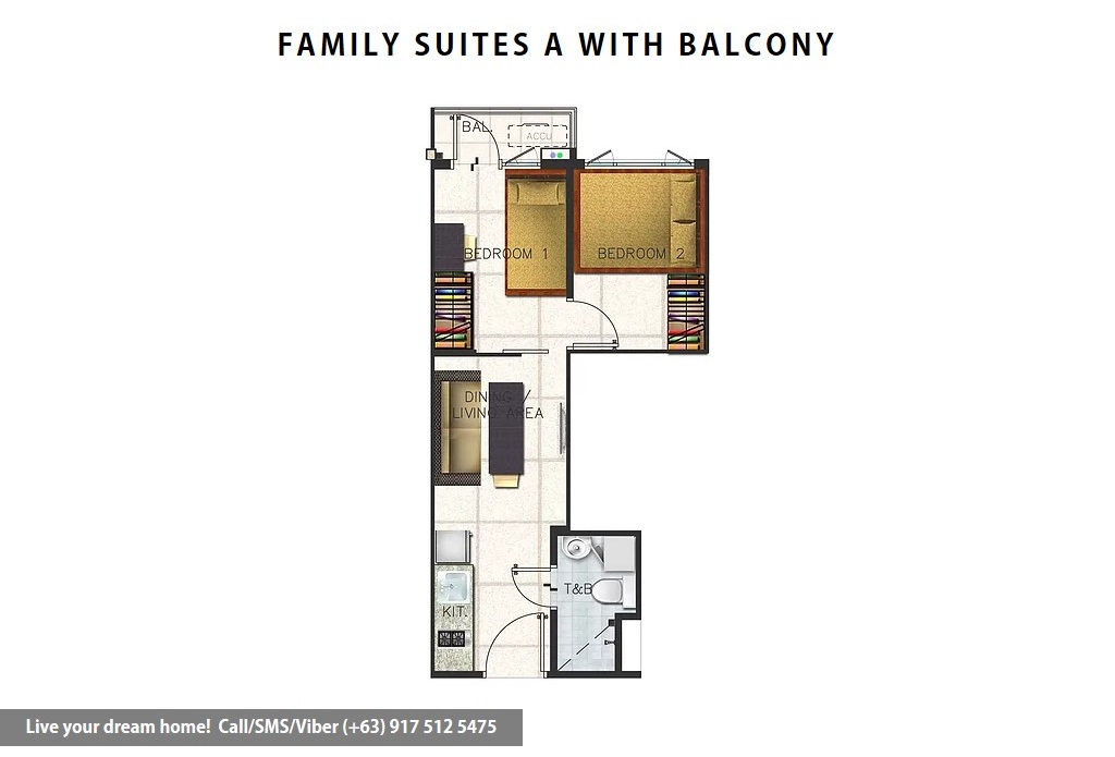 Floor Plan of SMDC Spring Residences - Family Suite A With Balcony | Condominium for Sale Bicutan Paranaque