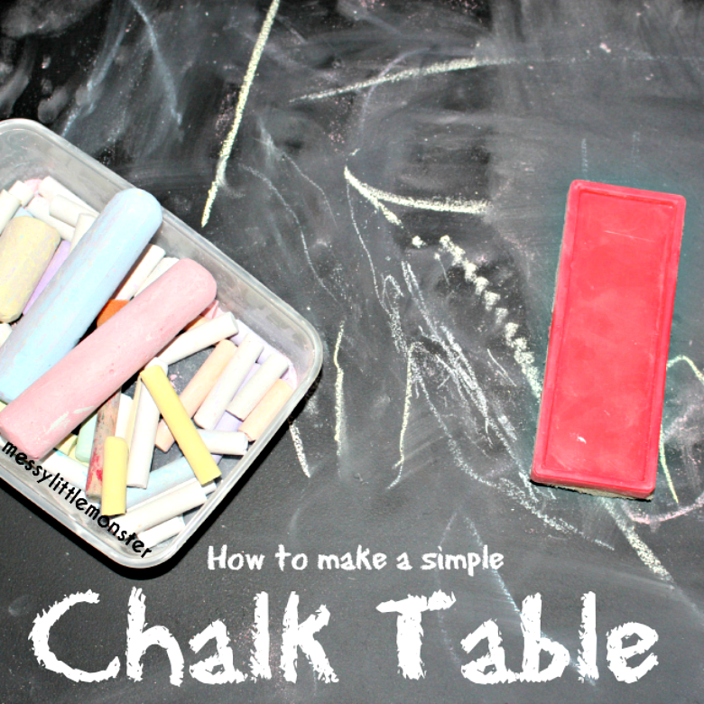 How to make a simple DIY chalkboard table for kids by upcycling an old table. Easy step by step instructions using an Ikea table and chalkboard paint. A great resource for toddlers and preschoolers learning to make marks, draw and write.
