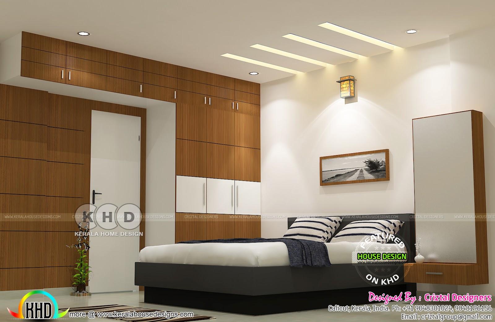 Master bedroom, living kitchen interior - Kerala home ... on Model Bedroom Design  id=64416