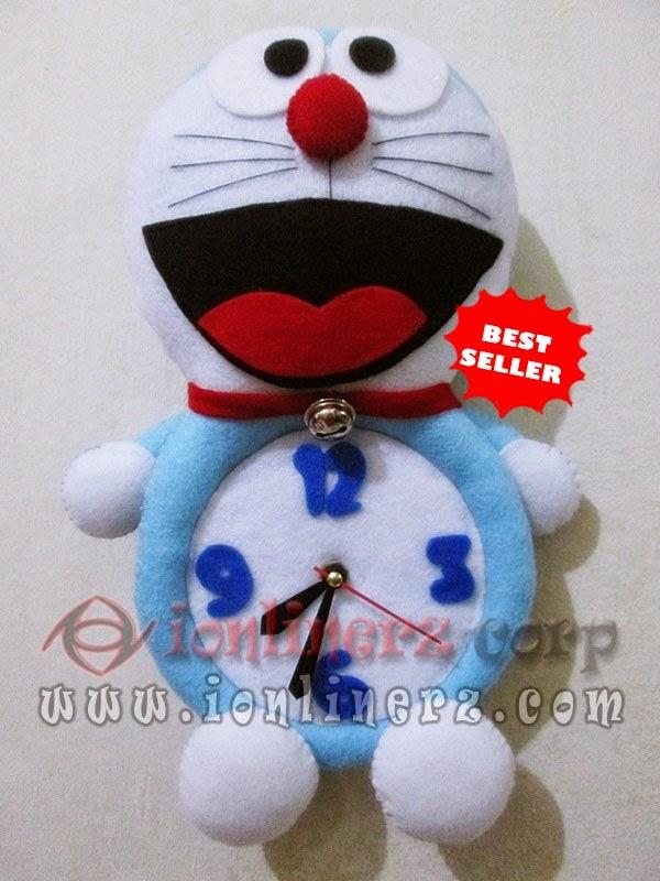 Jam Dinding Flanel Karakter Kartun Boneka Doraemon