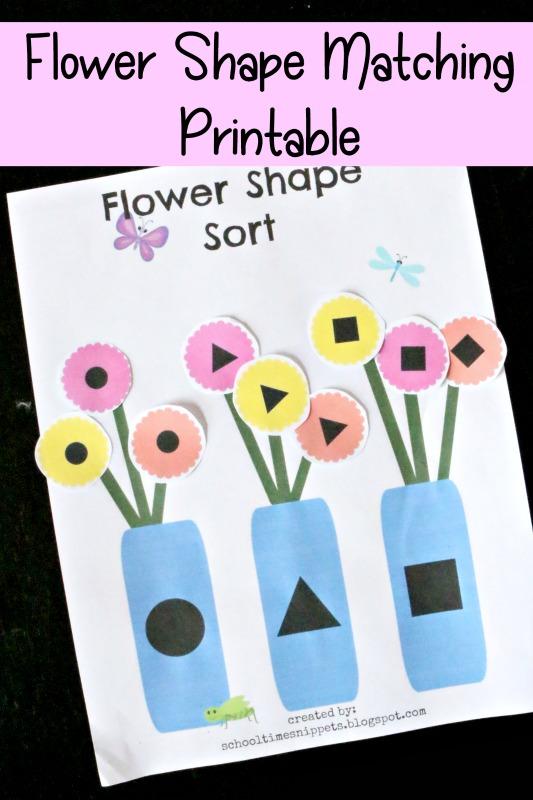 flower shape matching printable activity