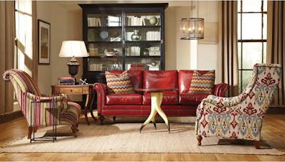 baers furniture red leather sofa