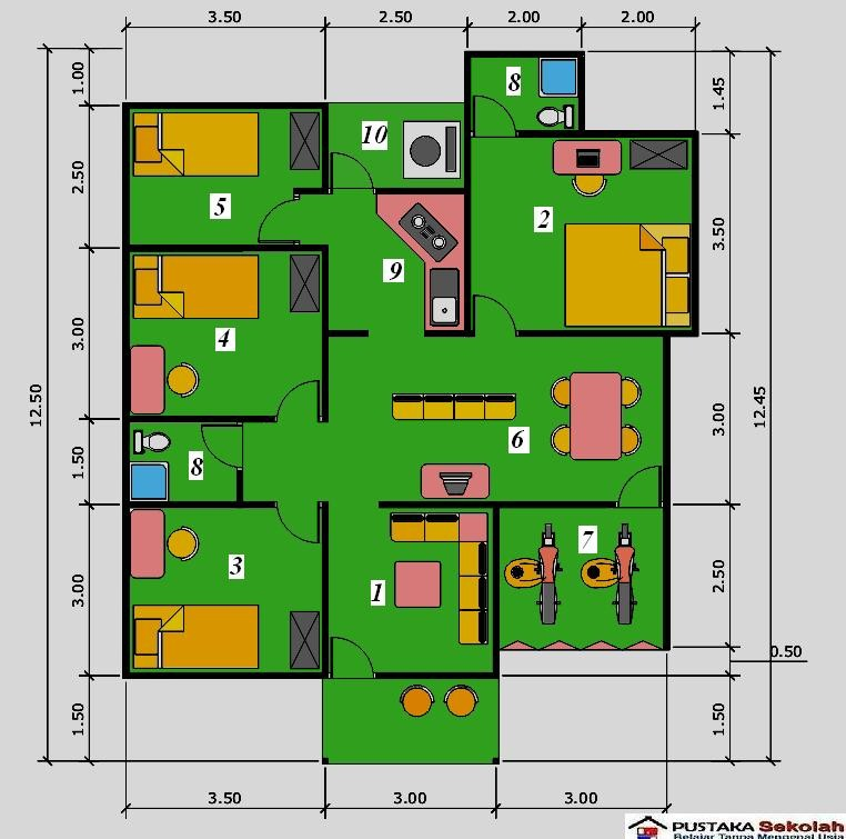gambar denah rumah minimalis 3 kamar tidur 4