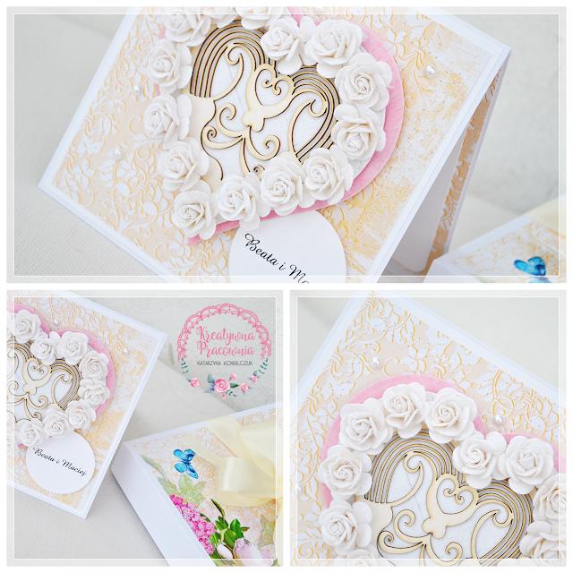 kartka ślubna z serce handmade