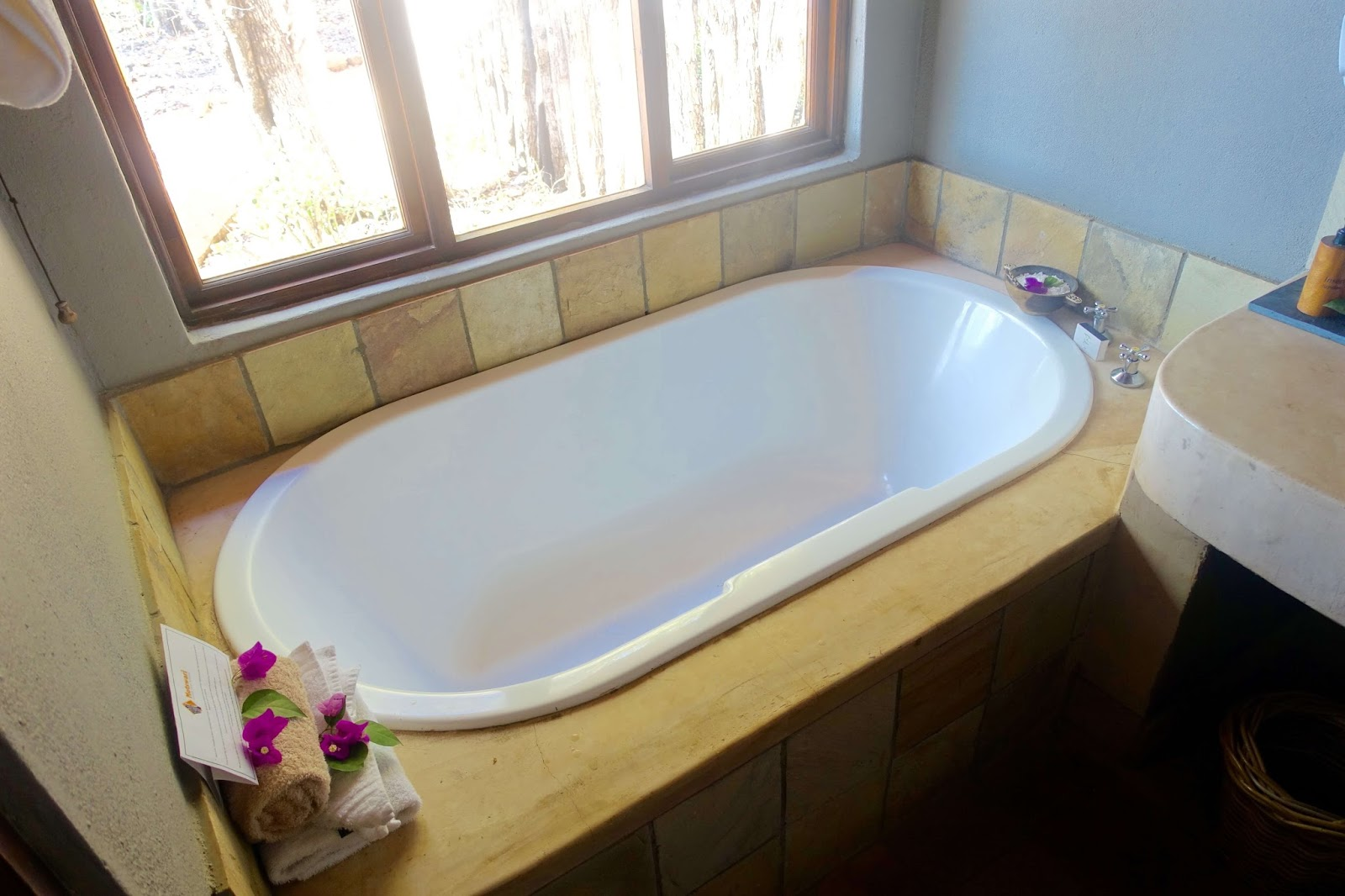 bath tub at game lodge in south africa