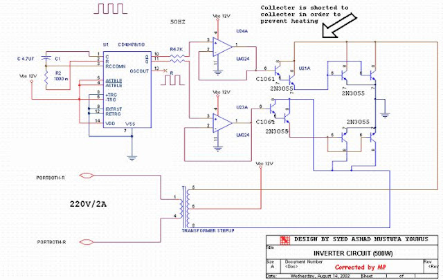 12 V to 220 V 2 Ampere Inverter Circuit