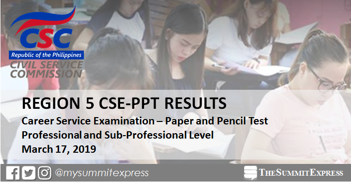 Region 5 Passers: CSC releases civil service exam results March 2019