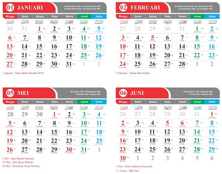 Kalender 2019 PDF Gratis, Editabel dan lengkap Hijriyah Jawa