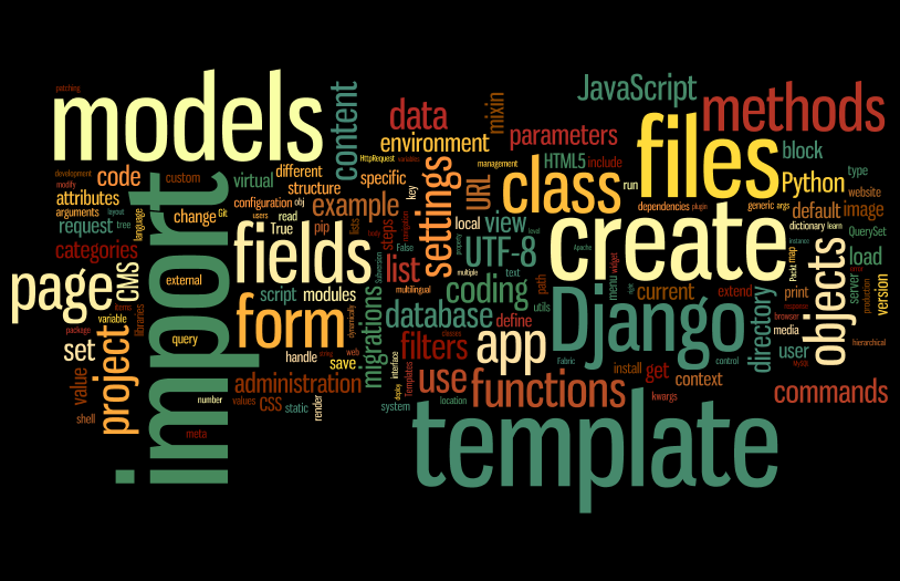 Word cloud of the Web Development with Django Cookbook