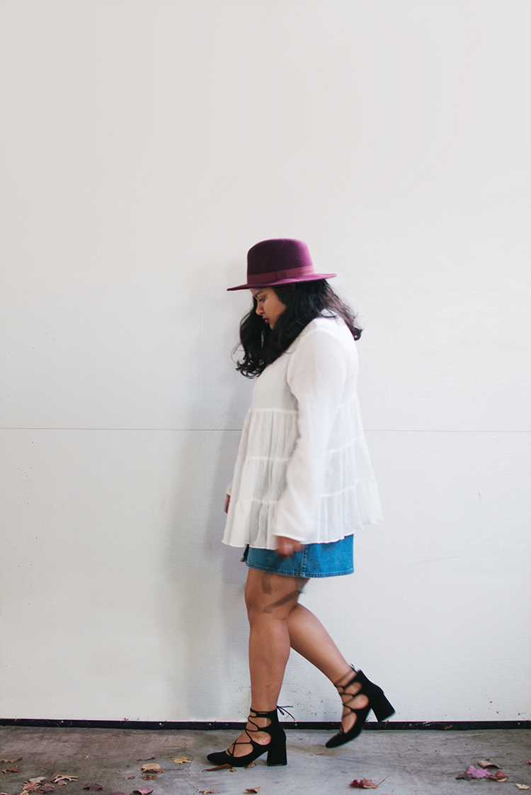 Kimchi Blue Gauze Babydoll Button-Back Shirt, zara lace up heels, forever 21 burgundy fedora
