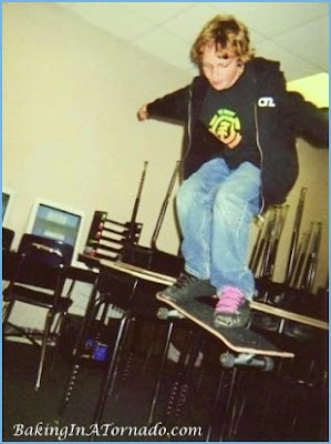 Tail dropping the desk at school | www.BakingInATornado.com