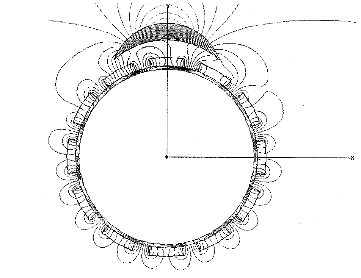5eaacae5ac0 Showing magnetic flux lines for a 2D model of a Johnson motor with a single  armature magnet