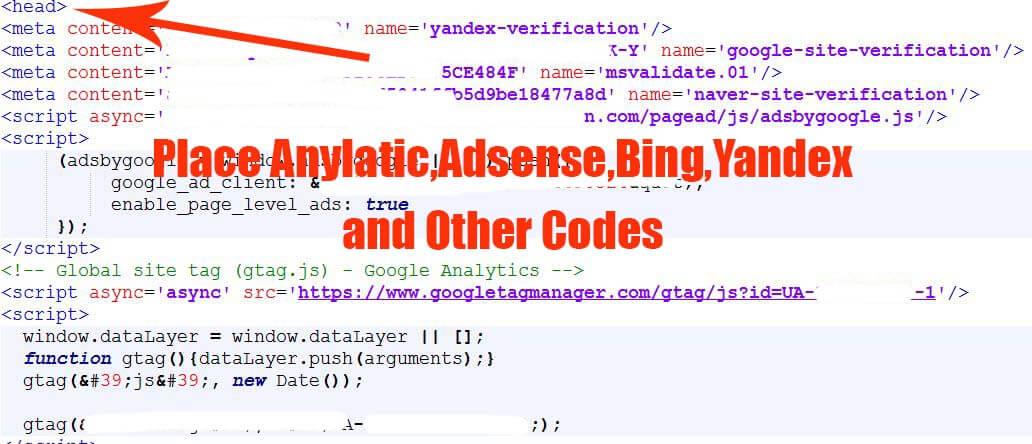 webmaster, Adsense,Analytics code paste