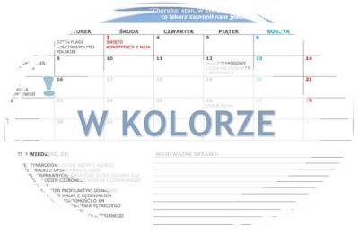 kalendarz na maj kolorowy