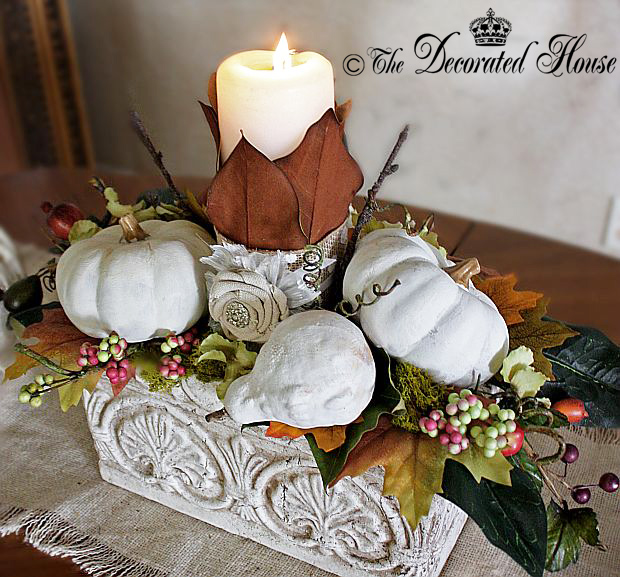 Fall Autumn Decor - Magnolia Leaf Candle - The Decorated House