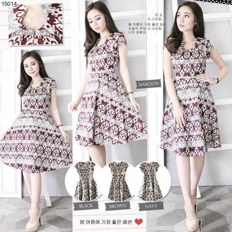 Jual Baju Batik Ritsuko Flare Batik Dress - 15014