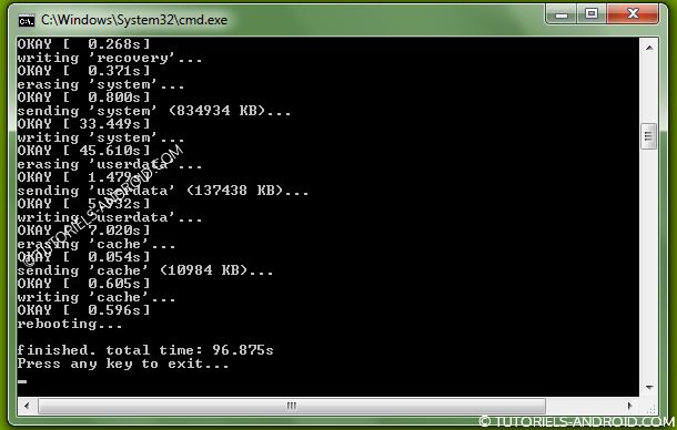 ROM stock Nexus 4 : installation de la ROM terminée