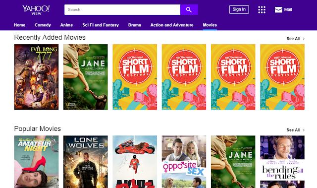 صورة من داخل موقع Yahoo View