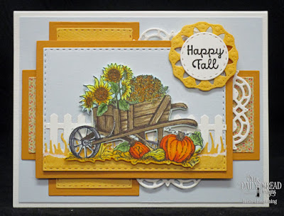 Our Daily Bread Designs Stamp Sets: Seasons Change, A-Maize-ing, Our Daily Bread Designs Paper Collection Cozy Quilt, Our Daily Designs Custom Dies: Fence, Grass Lawn, Wheelbarrow, Double Stitched Circles, Double Stitched Rectangles, Rectangles, Doily