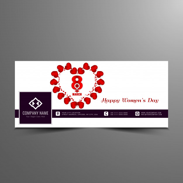 Abstract Women's day facebook elegant banner template Free Vector