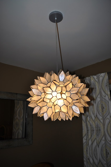 world market, large capiz chandelier, lighting, dining room, hardwire, diy, parchment paper, faux capiz, capiz, capiz lighting