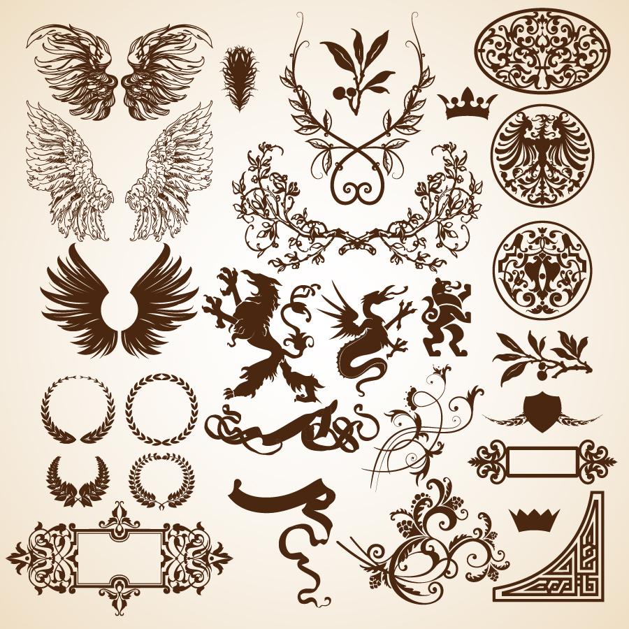 すべての講義 アルファベットノート : 紋章と翼の素材 Heraldic and wing ...