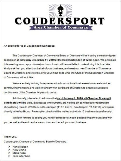 12-11 Coudersport Area Chamber of Commerce