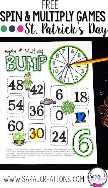 Free multiplication games for St. Patrick's Day.  Perfect math center for March.