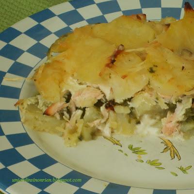 recette du gratin au saumon, blettes et pommes de terre