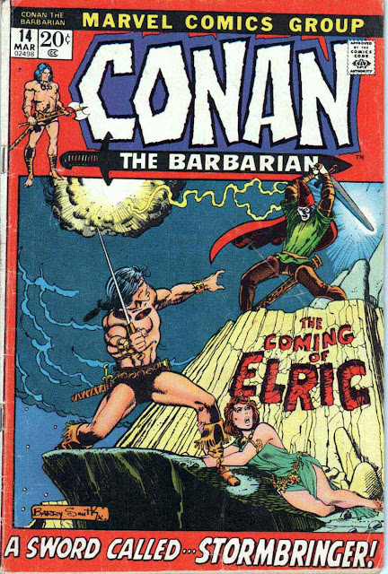 Conan the Barbarian v1 #14, 1972 marvel bronze age comic book cover by Barry Windsor Smith - 1st Elric