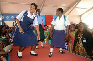 Malawi First lady puts on School Uniform to encourage girl education