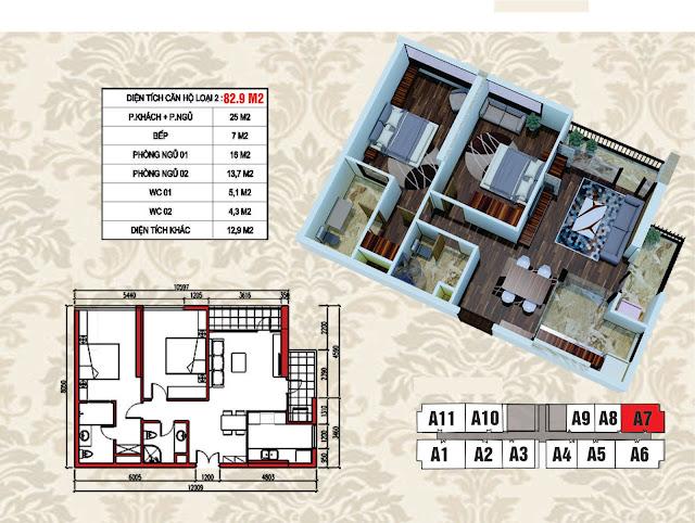 Mặt bằng điển hình căn hộ 82,9m2