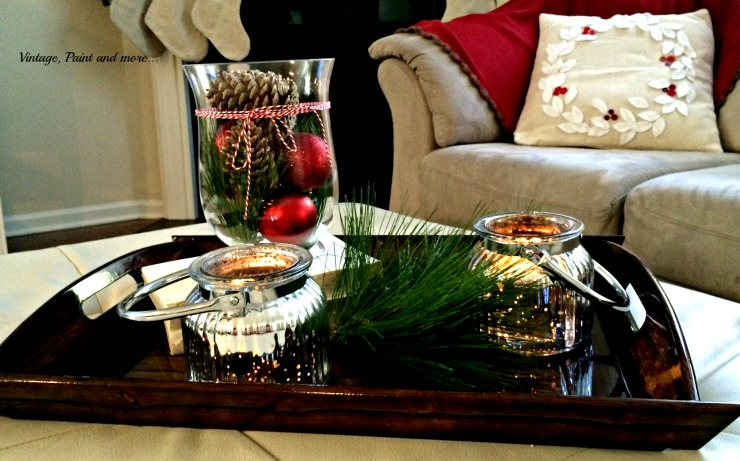 Vintage, Paint and more... Christmas vignette with mercury glass jars and faux greenery